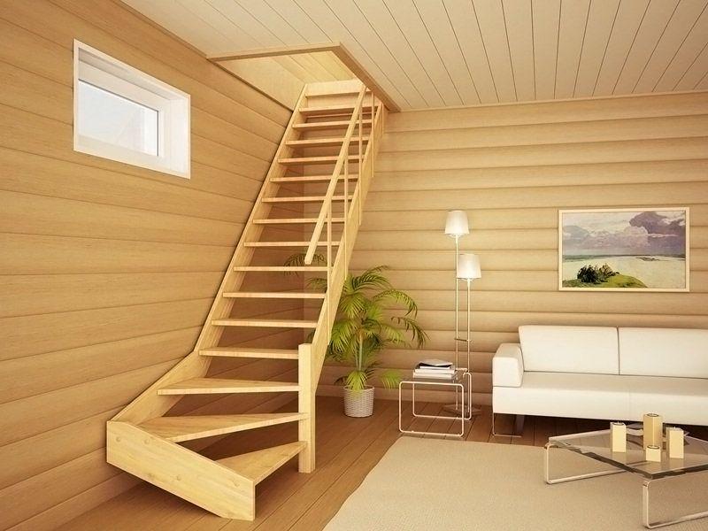 Сосновая лестница на второй этаж своими руками из дерева с поворотом на 90 градусов