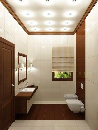 «Выше» потолки делают соответствующей укладкой и вертикальными полосами