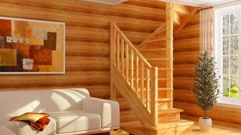 В этой винтовой лестнице поворот создан плавно, по всей высоте. Центральный столб выполняет функции основной опоры
