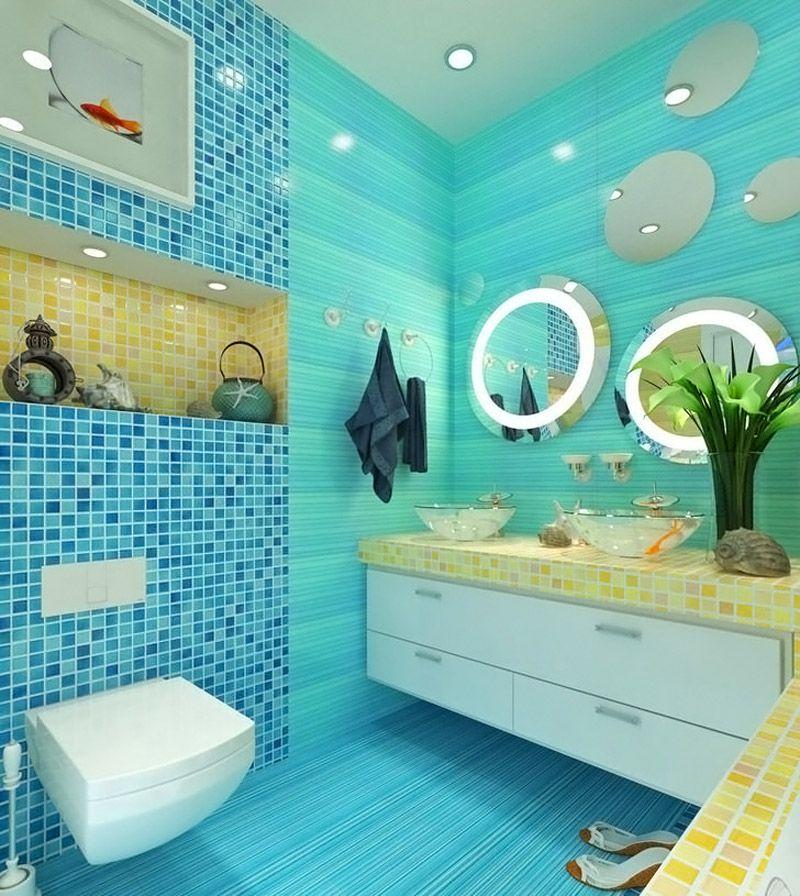 Из мелких плиток не сложно создавать сложные формы. Синий, голубой и желтый цвета и специальные элементы оформления подчеркивают морскую тематику