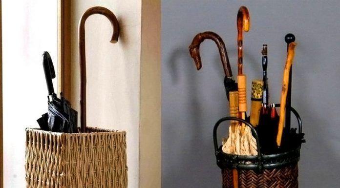 Такие универсальные аксессуары для хранения тростей и зонтов используют в комплектах с разными видами мебели