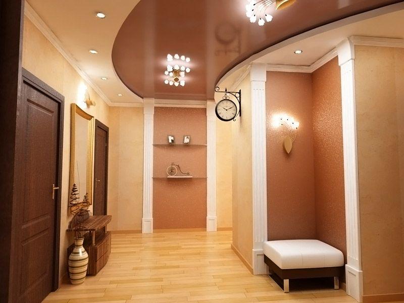 Дизайн потолка в коридора в квартире