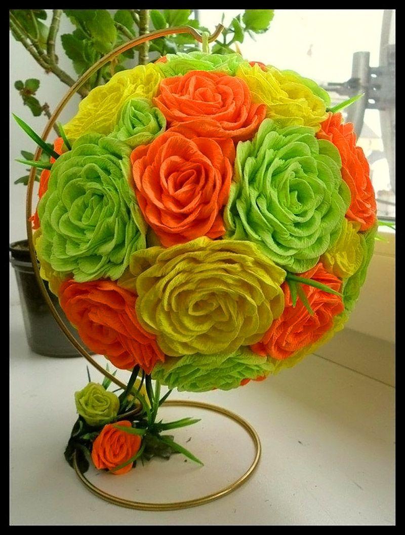 Топиарий из гофрированной бумаги как сделать цветы