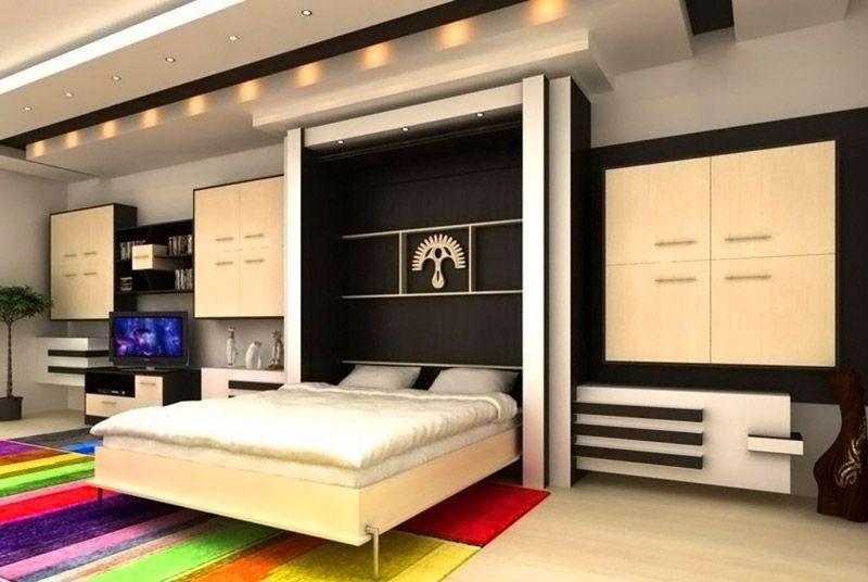 Двухспальное ложе хорошо умещается в вертикальном шкафу