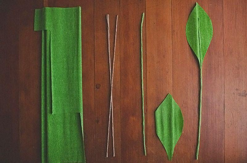 Как сделать стебель для цветка из гофробумаги