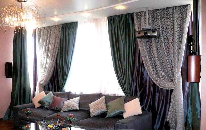 На фото: штора для зала в современном стиле многослойная