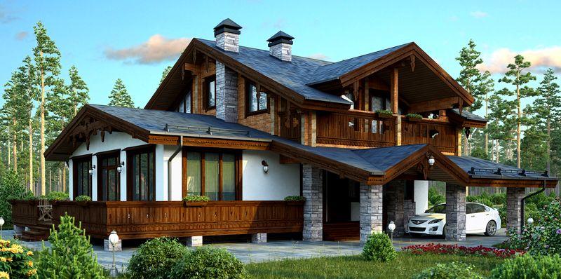 Наружное оформление подобного стиля приемлет остеклённые террасы и деревянную обшивку
