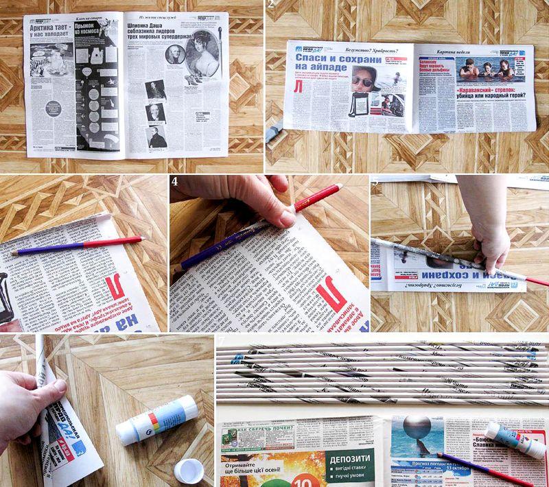 Поделки из газетных трубочек как сделать трубочки