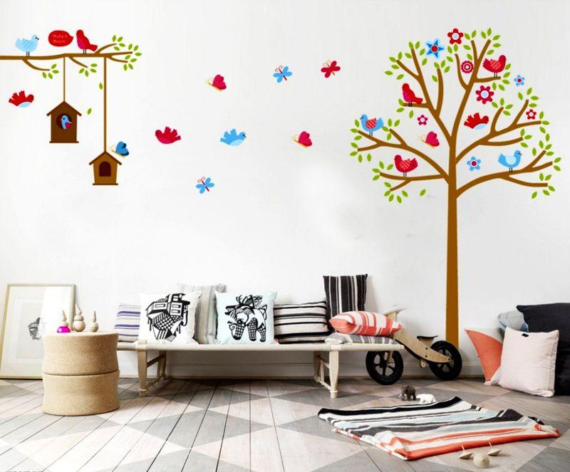 Вы можете взять за основу рисунок малыша, изготовить по нему трафареты и вместе с ним перенести изображение на стену