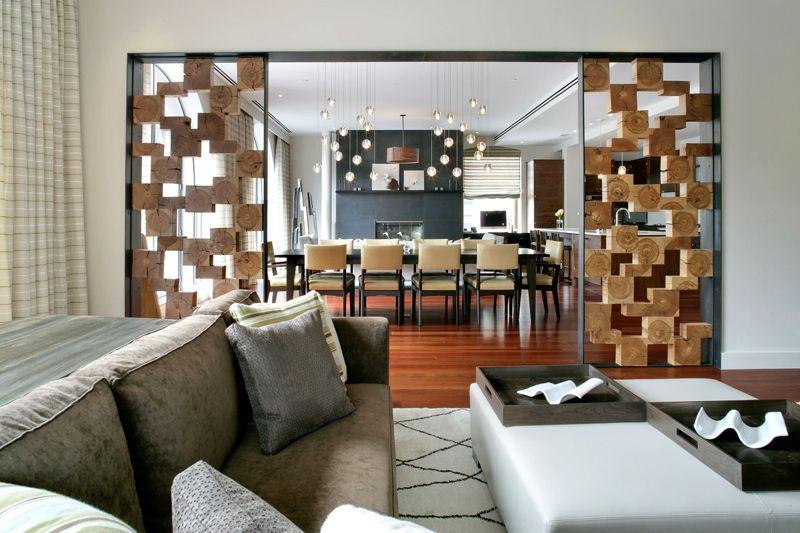 Весьма креативная конструкция из брусков с имитацией среза дерева
