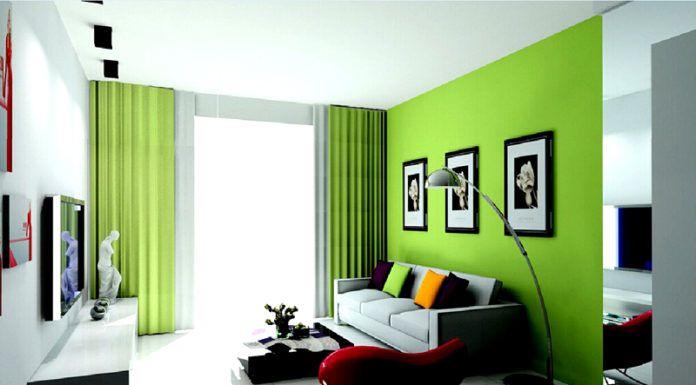 Зелёная гостиная приемлет сочетания зелёных, голубых и синих оттенков. Такой дизайн хорошо влияет на нервную систему обитателей комнаты. Поддержку зелёных тонов можно осуществить с помощью комнатных цветов