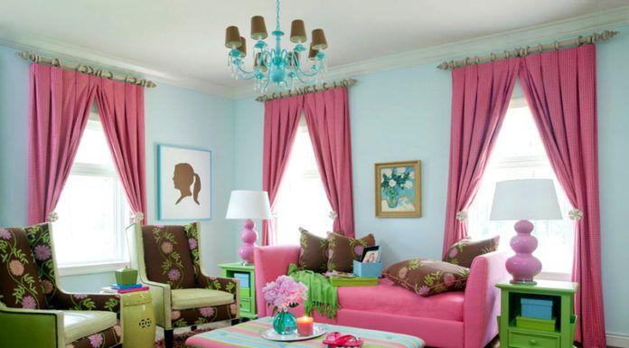 Гостиная в розовых и мятных сочетаниях. Оригинальный и свежий дизайн совсем не вызывает дискомфорта. Напротив, такое сочетание приятно глазу и создает настроение праздника