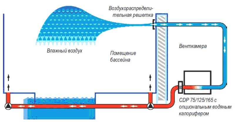 На схеме показано, как работает осушитель в бассейне