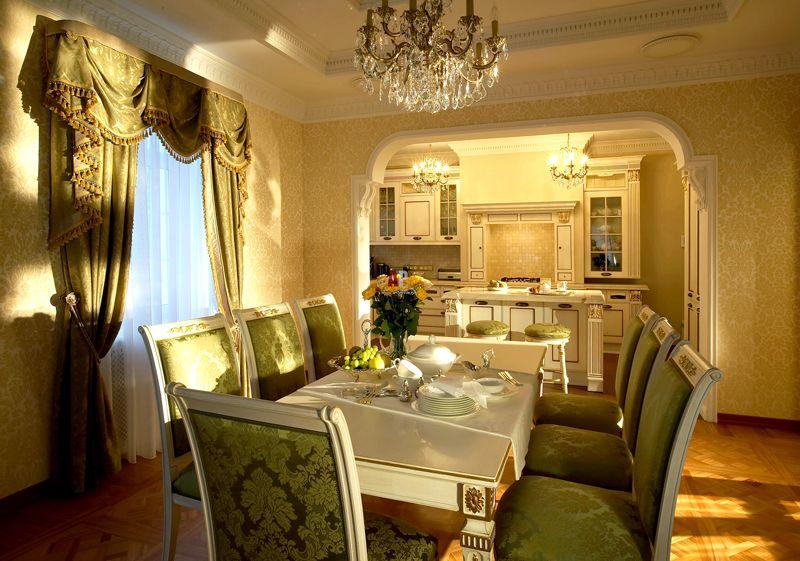 Пример классической совмещенной кухни-столовой
