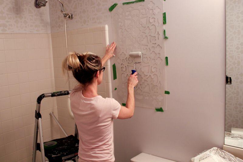 Нанесение краски на шаблон
