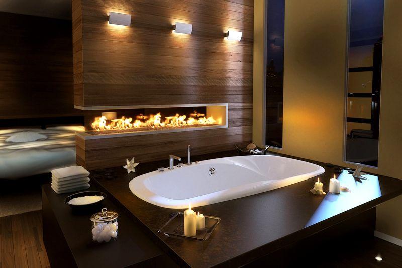Очень атмосферная ванная комната с отделкой натуральными материалами