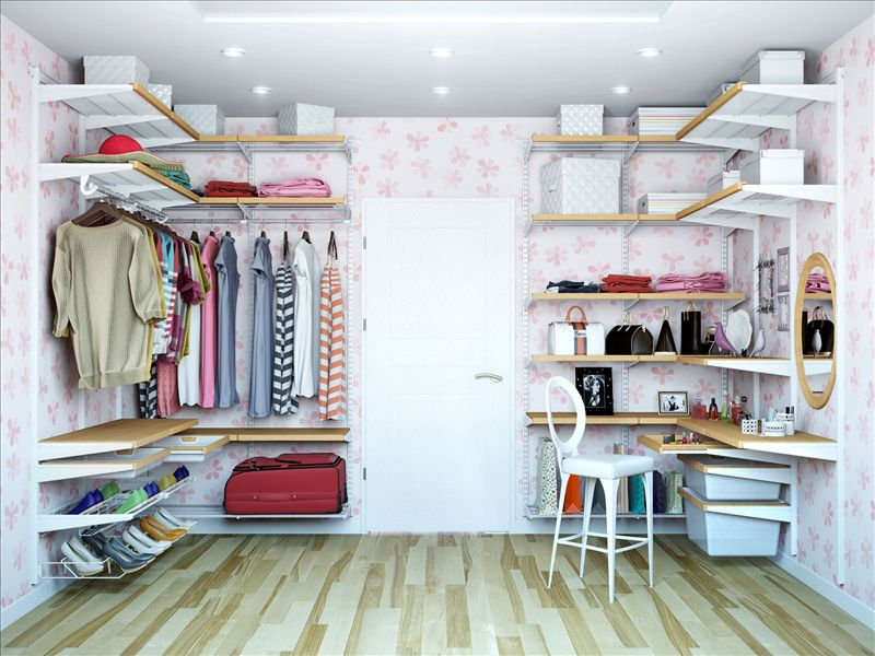 Открытые гардеробные тоже могут быть весьма стильными