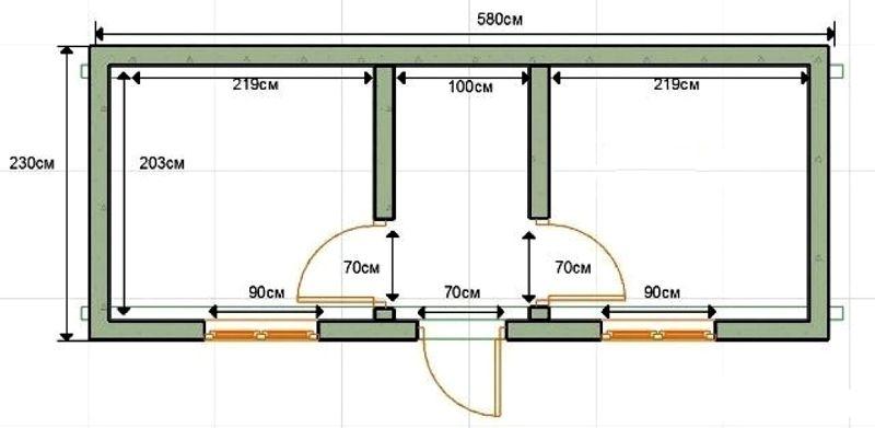 На схеме показан вариант конструкции и размеры отдельных помещений