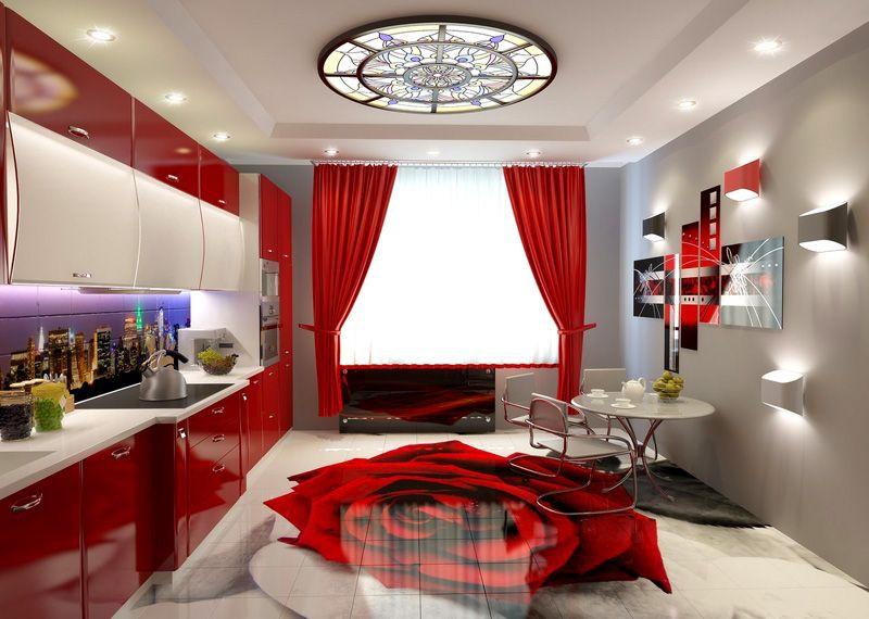 Интерьер в красном оформлении