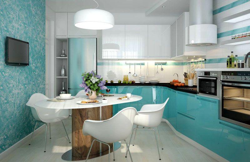 На кухне оттенок штукатурки можно использовать в соответствии с цветом фасада мебели
