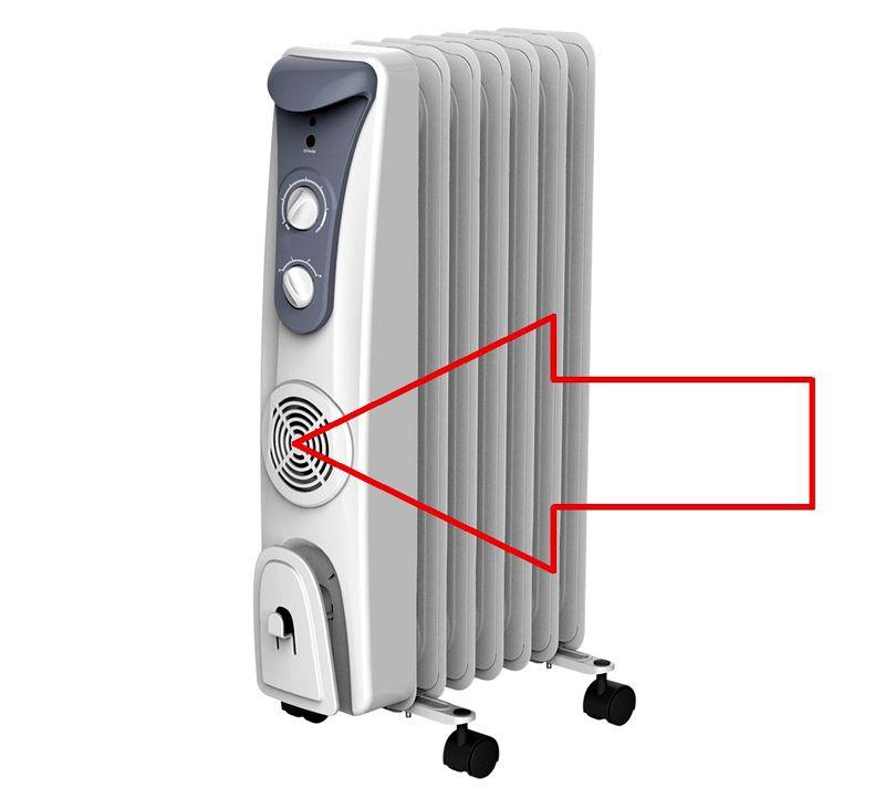 Чтобы ускорить нагрев воздуха в комнате некоторые модели оснащают встроенным вентилятором
