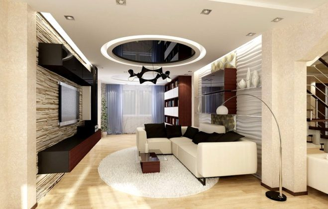 Здесь строительная смесь использована для создания оригинальных волнистых вставок над спинкой дивана. На противоположной стене установлен искусственный камень