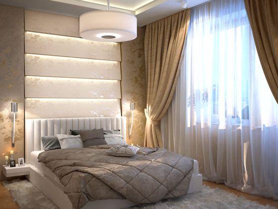 Комбинированная отделка в спальне