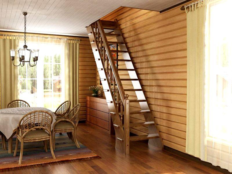 Фото лестницы на второй этаж в частном доме, сделанной из дерева
