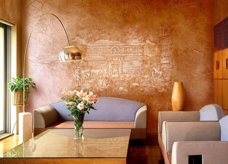 Создать подобную стену с применением натурального камня будет дороже, чем с помощью строительных смесей