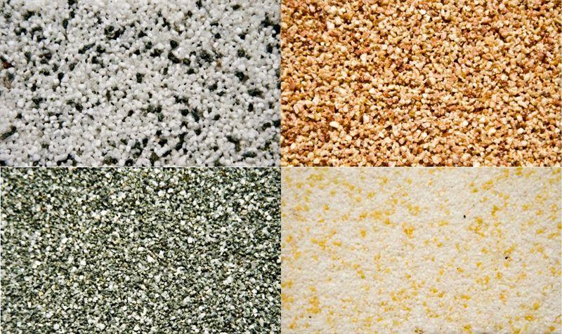 Декоративные покрытия из смеси с крупными минеральными и полимерными частицами
