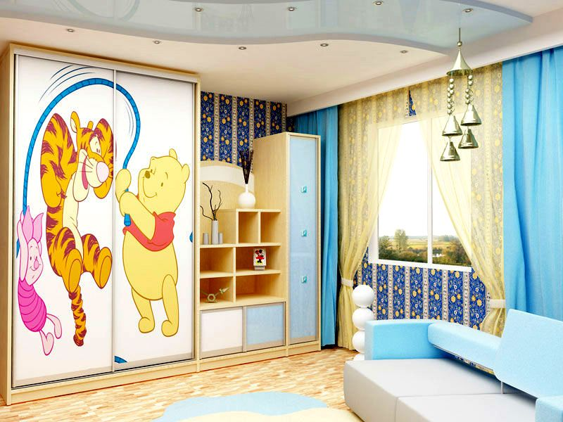Оформление в детской комнате можно сделать по мотивам любимых мультфильмов