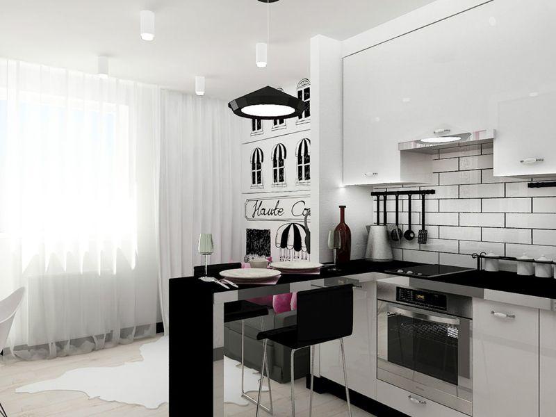 Кухонная зона компактна и эргономична
