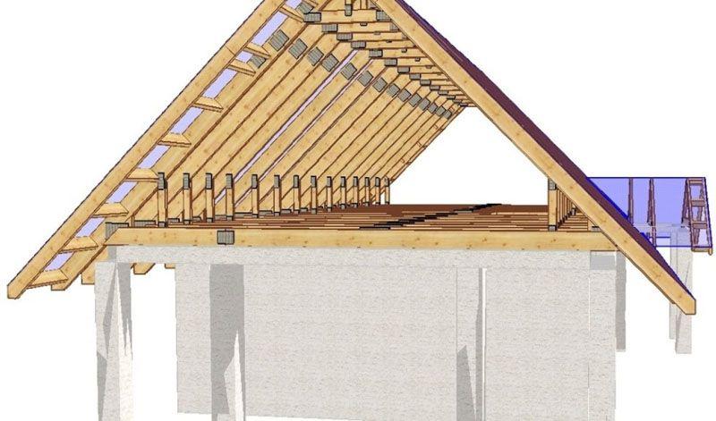 3D изображение мансардной крыши