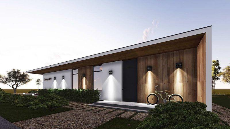 Стиль Хай-тек с односкатной крышей