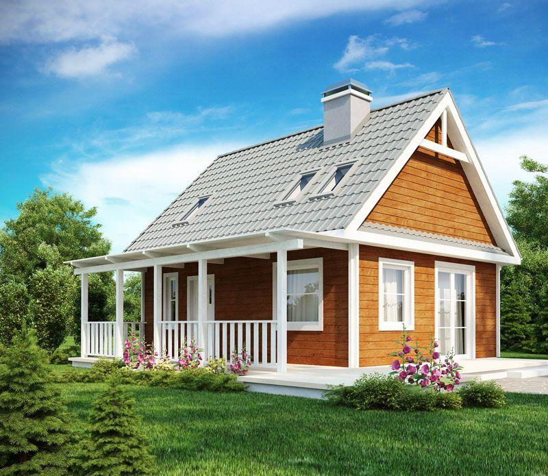 Дачный домик с мансардой и терраской