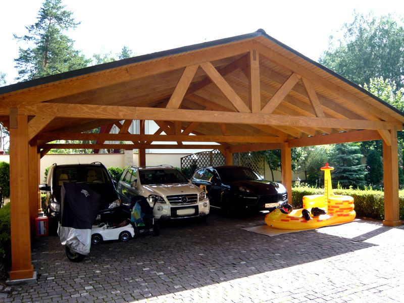 Навес для машины из дерева на даче своими руками фото
