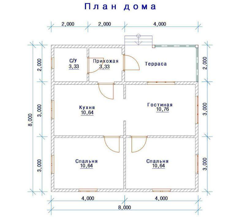Простой план постройки с распределением комнат и наличием цокольного этажа