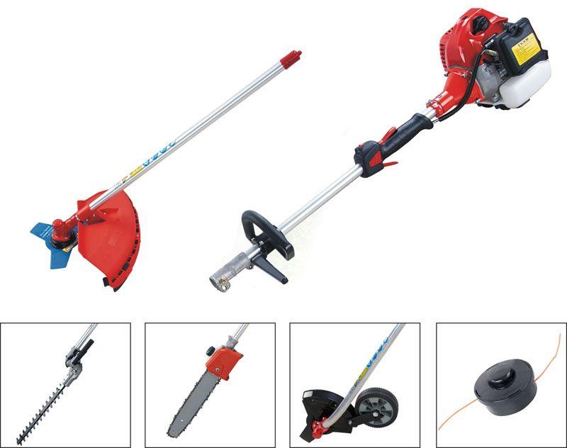 В качестве дополнительных насадок к бензотриммеру можно приобрести культиватор, ножовку, снегоуборочный винт или ногу для лодочного мотора