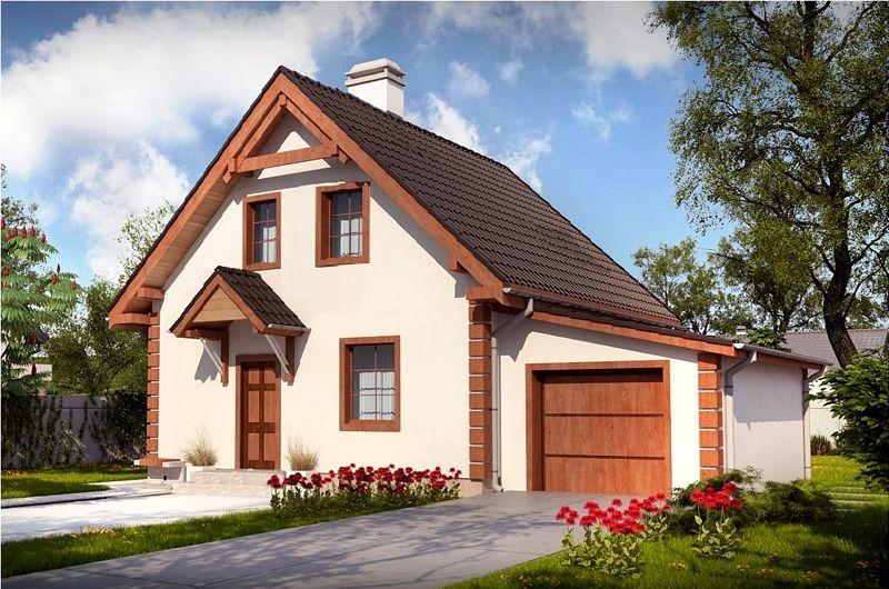 Дом с мансардой и пристроенным гаражом