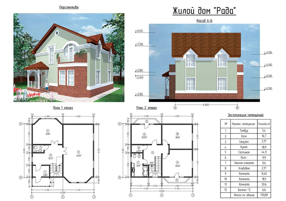 Большой дом от 150 до 200 м²
