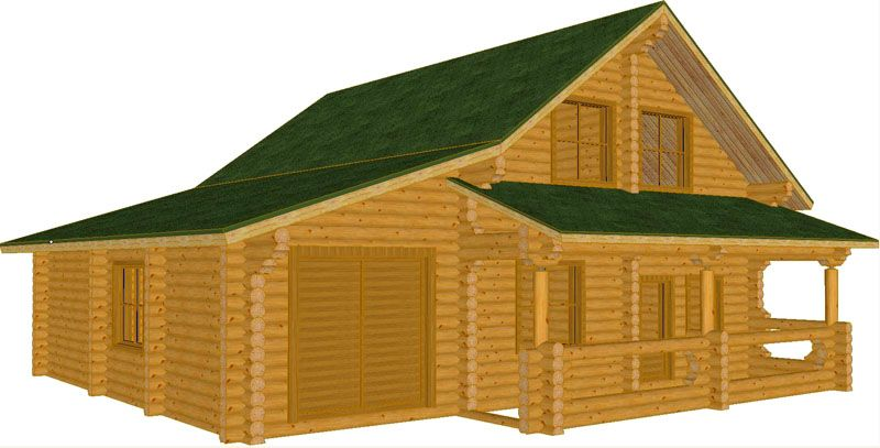 Деревянный дом с гаражом, мансардой и крыльцом