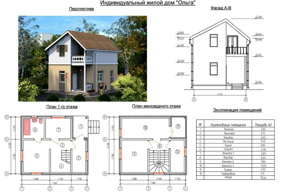 Подробный план узкого небольшого дома
