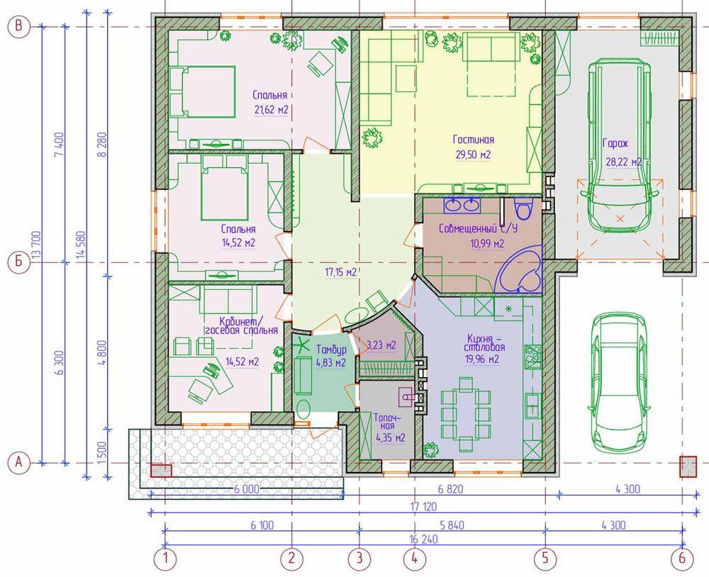 Projekte der Landhäuser mit Dachboden und einer Veranda