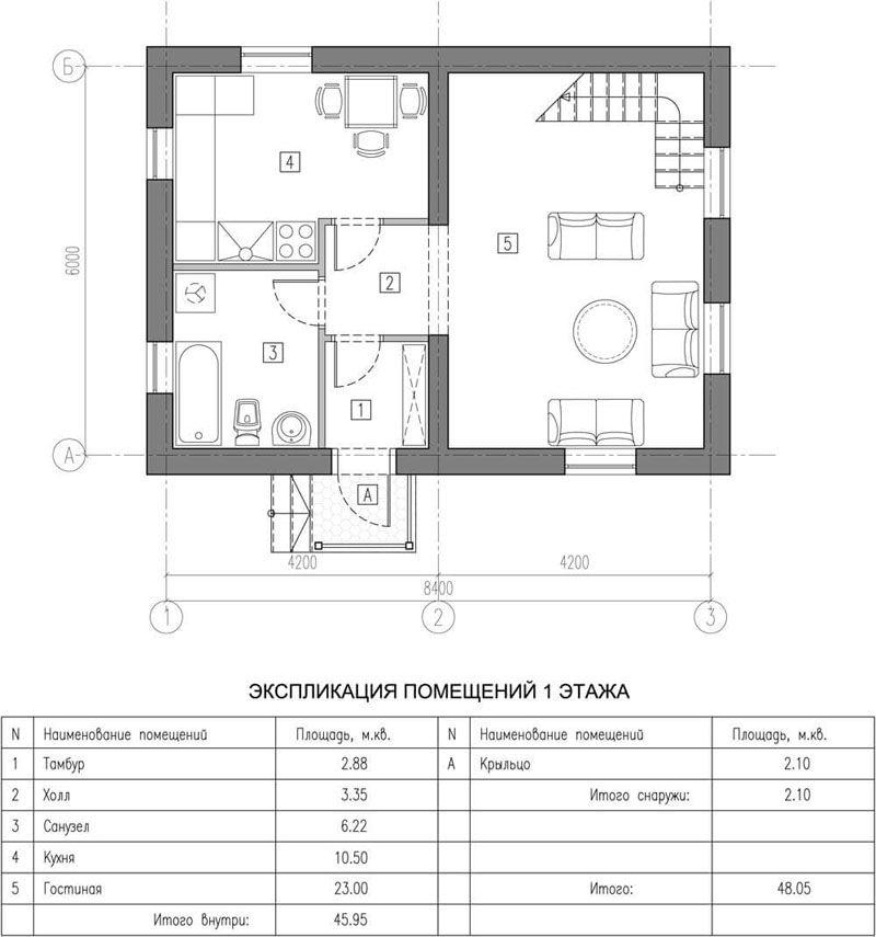 Скромный домик из газобетонных блоков