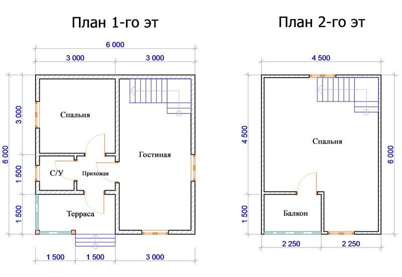 План дома 6х6 м с мансардным этажом