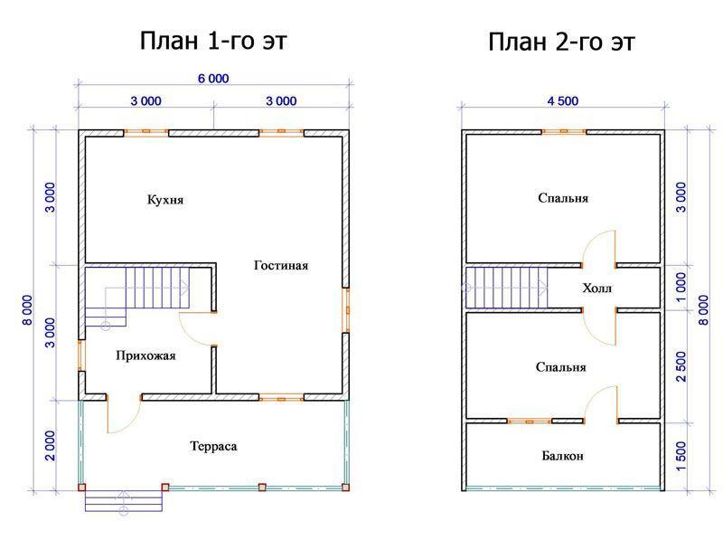 Можно выбрать проект чуть большего размера 6х8 м