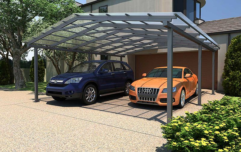 Двухскатное сооружение на два авто