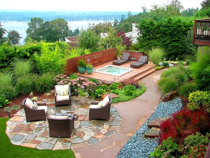 При продуманной планировке можно компактно разместить все элементы дворового дизайна