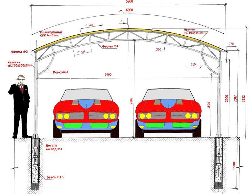 Вариант чертежа для конструкции на два места