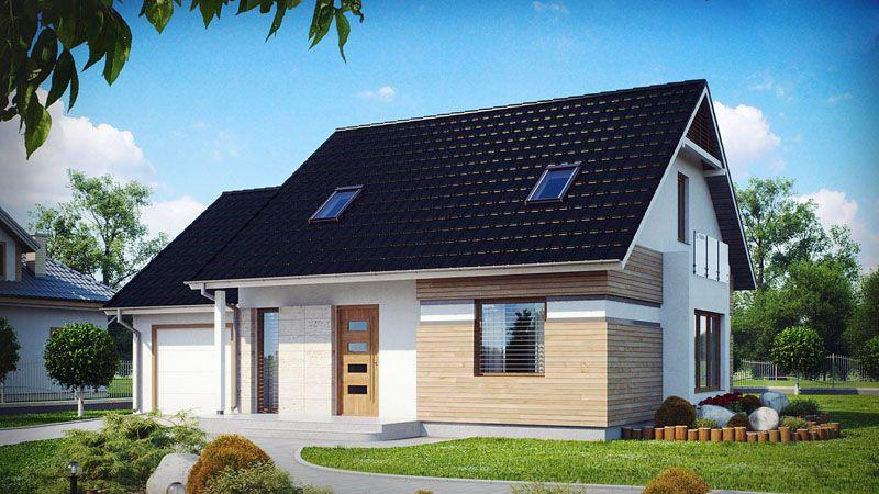 Готовый домик с пристроенным гаражом